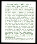 1934 Diamond Stars Reprint #1  Lefty Grove  Back Thumbnail