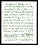 1934 Diamond Stars Reprint #5  Tommy Bridges  Back Thumbnail