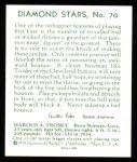 1934 Diamond Stars Reprint #70  Hal Trosky  Back Thumbnail