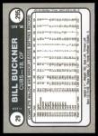 1981 Fleer Star Stickers #29  Bill Buckner   Back Thumbnail