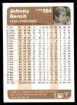 1983 Fleer #584  Johnny Bench  Back Thumbnail