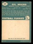 1960 Topps #49  Gil Mains  Back Thumbnail
