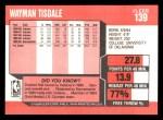 1989 Fleer #139  Wayman Tisdale  Back Thumbnail