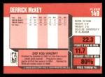 1989 Fleer #149  Derrick McKey  Back Thumbnail