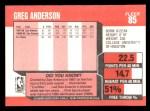 1989 Fleer #85  Greg Anderson  Back Thumbnail