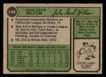 1974 Topps #148 SD Dave Hilton  Back Thumbnail