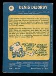 1969 O-Pee-Chee #66  Denis DeJordy  Back Thumbnail