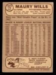 1968 O-Pee-Chee #175  Maury Wills  Back Thumbnail