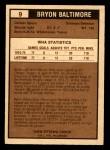 1975 O-Pee-Chee WHA #9  Bryon Baltimore  Back Thumbnail