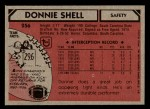 1980 Topps #256  Donnie Shell  Back Thumbnail