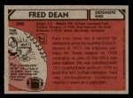 1980 Topps #392  Fred Dean  Back Thumbnail