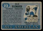 1955 Topps #23  Dick Kazmaier  Back Thumbnail