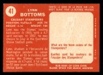 1958 Topps CFL #41  Lynn Bottoms  Back Thumbnail