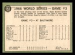 1967 Topps #153 L  -  Paul Blair 1966 World Series - Game #3 - Blair's Homer Defeats L.A. Back Thumbnail
