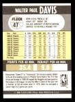 1990 Fleer #47  Walter Davis  Back Thumbnail