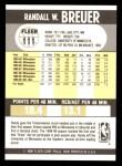 1990 Fleer #111  Randy Breuer  Back Thumbnail