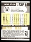 1990 Fleer #39 COR Adrian Dantley  Back Thumbnail
