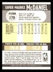 1990 Fleer #179  Xavier McDaniel  Back Thumbnail