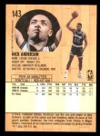 1991 Fleer #143  Nick Anderson  Back Thumbnail