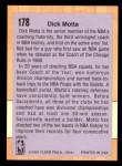 1991 Fleer #178  Dick Motta  Back Thumbnail