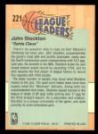 1991 Fleer #221   -  John Stockton League Leader Back Thumbnail