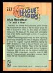 1991 Fleer #222   -  Alvin Robertson League Leader Back Thumbnail