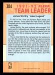 1991 Fleer #384   -  James Worthy Lakers Leaders Back Thumbnail