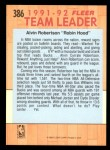 1991 Fleer #386   -  Alvin Robertson Bucks Leaders Back Thumbnail