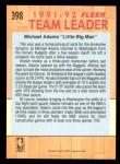 1991 Fleer #398   -  Michael Adams Bullets Leaders Back Thumbnail