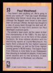 1991 Fleer #53  Paul Westhead  Back Thumbnail