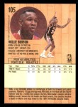 1991 Fleer #105  Willie Burton  Back Thumbnail