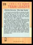 1991 Fleer #378   -  Dikembe Mutombo Nuggets Leaders Back Thumbnail