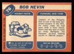 1968 Topps #76  Bob Nevin  Back Thumbnail