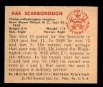 1950 Bowman #108  Ray Scarborough  Back Thumbnail