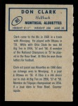 1962 Topps CFL #80  Don Clark  Back Thumbnail