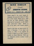1962 Topps CFL #47  Mike Kmech  Back Thumbnail