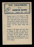 1962 Topps CFL #39  Vic Chapman  Back Thumbnail