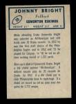 1962 Topps CFL #38  Johnny Bright  Back Thumbnail