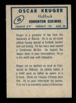 1962 Topps CFL #48  Oscar Kruger  Back Thumbnail