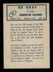 1962 Topps CFL #44  Ed Gray  Back Thumbnail
