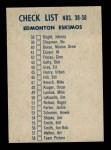1962 Topps CFL #58   Edmonton Eskimos Team Back Thumbnail
