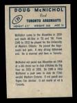 1962 Topps CFL #139  Doug McNichol  Back Thumbnail