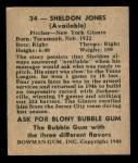 1948 Bowman #34  Sheldon Jones  Back Thumbnail