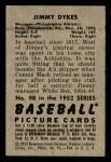 1952 Bowman #98  Jimmy Dykes  Back Thumbnail