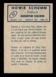 1962 Topps CFL #53  Howie Schumm  Back Thumbnail