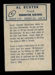 1962 Topps CFL #41  Al Ecuyer  Back Thumbnail
