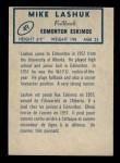 1962 Topps CFL #49  Mike Lashuk  Back Thumbnail