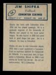 1962 Topps CFL #54  Jim Shipka  Back Thumbnail