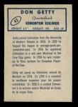 1962 Topps CFL #43  Don Getty  Back Thumbnail