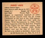 1950 Bowman #240 CR Eddie Lake  Back Thumbnail